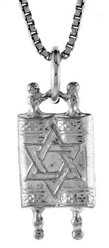 Sterling Silver Jewish Torah Scroll Pendant, 17mm