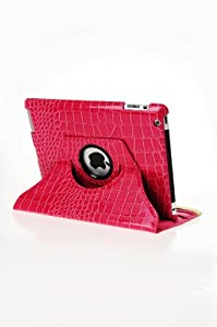 360 Degrees Rotating Stand Leather Smart Cover Case for Apple iPad 2, Pink Crocodile Color