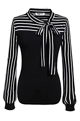Zeagoo Ladies Tie-bow Neck Striped Long Sleeve Splicing Autumn Shirt
