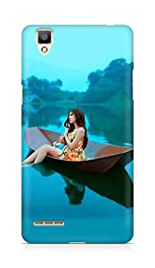 Amez designer printed 3d premium high quality back case cover for OPPO F1 (Asian girl on the blue lake)