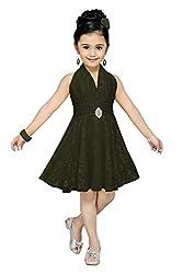 Aarika Girl's Self Design Party Wear Net Frock (6516-BLACK_24_5-6 Years)