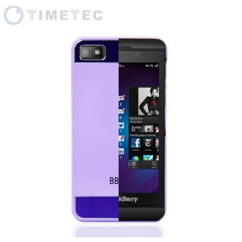 Timetec Blackberry Z10 Bb10 Faux Brushed Aluminum Metal Snap-On Metal Back Cosmo Brushed Metal Top & Bottom Glossy Plastic Shell Case Cover (Purple)