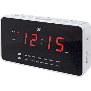 gpx cp308 dual am fm clock radio with nature sounds and alarm and projection display. Black Bedroom Furniture Sets. Home Design Ideas