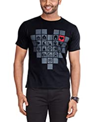 Zovi Men's Cotton India Black Graphic T-shirt (11071700701)