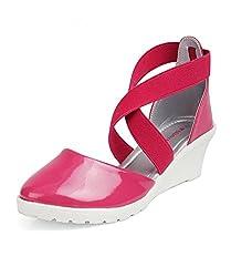Kittens Girls Fuschia Synthetic Wedge Sandals (KTG250) - 3 UK