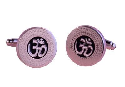Om Silver Religious Hindu Sanskrit God Cufflinks