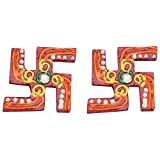 Shiv Shakti Handicraft Wooden Small Door Floor Swastik (Red And Green, 4 Cm X 4 Cm)