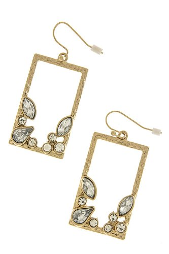 Karmas Canvas Square Jewel Dimpled Earrings (Clear/Gold) front-1002990