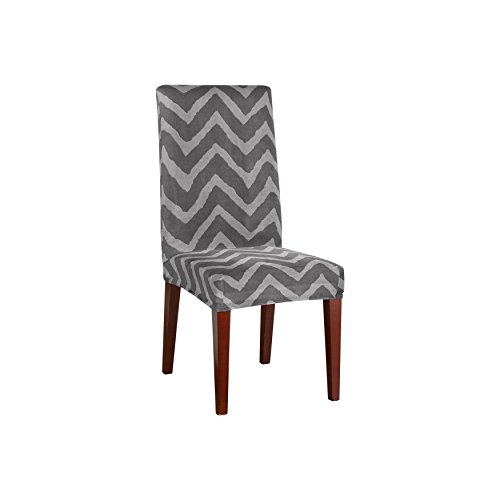 Sure Fit Str Plush Chevron Short Dining Room Chair Gray