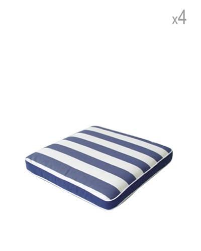 Arredamenti Italia Set 4 Cuscini Sfoderabili Bianco/Blu