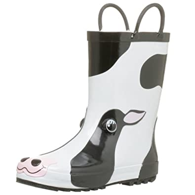 Western Chief Women's Cow Rain Boot,Black/White,5 M