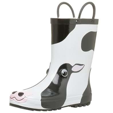 Western Chief Women's Cow Rain Boot,Black/White,5 M