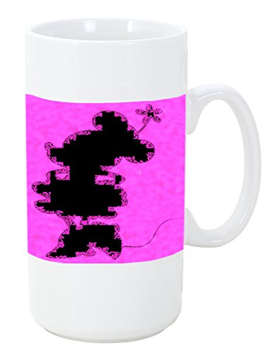 Cute Mouse Silhouette Pink Design Print Image Big 20 ounce Ceramic Coffee Mug Tea Cup by Trendy (Cartoon Charachters)