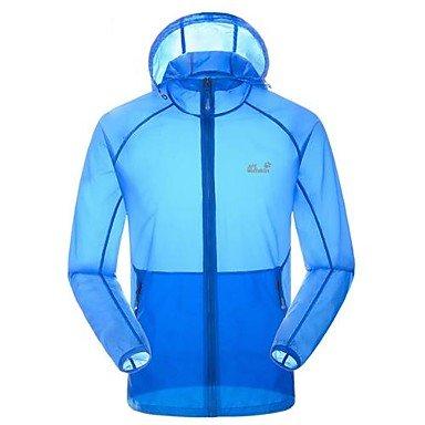 Herrenultradünne Ultraviolet Proof Sun Block Haut frei atmen Staub-Mantel-Jacke Blau L