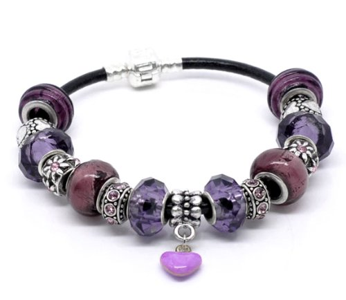Purple Love Charm Bracelet -