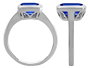 Star K Emerald Cut Octagon Solitaire Engagement Ring Created Sapphire Size 8 from Star K