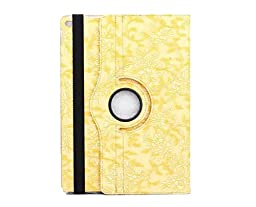 iPad Pro Case,Topchances 360 Rotating PU Leather Protective Stand Cover for iPad Pro 12.9 Inch -World Map Pattern (Yellow)