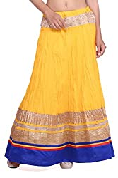 Cotton yellow skirt with gotta and blue border
