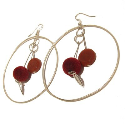 Carnelian Earrings 18 Hoop White Orange Gemstone Fuzzy Bead Leaf Big 3.4
