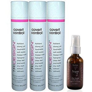 TRIDESIGN Covert Control Holding Hair Spray 10.5oz/298g Pack of 3 with Argan Oil Hair Serum 2 oz by NADYA