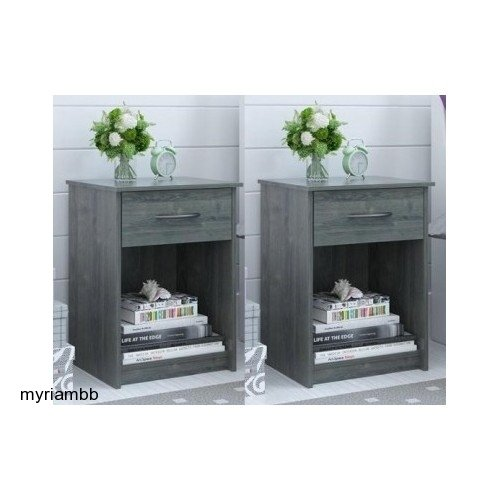 Find Discount Set of 2 Nightstand MDF End Tables Pair Bedroom Table Furniture Multiple Colors (Gray)