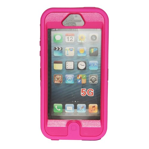 Sunshine(Tm) Body Armor Heavy Duty Dirtproof Shockproof Hybrid Defender Impact Case For Iphone 5-Hot Pink front-983977