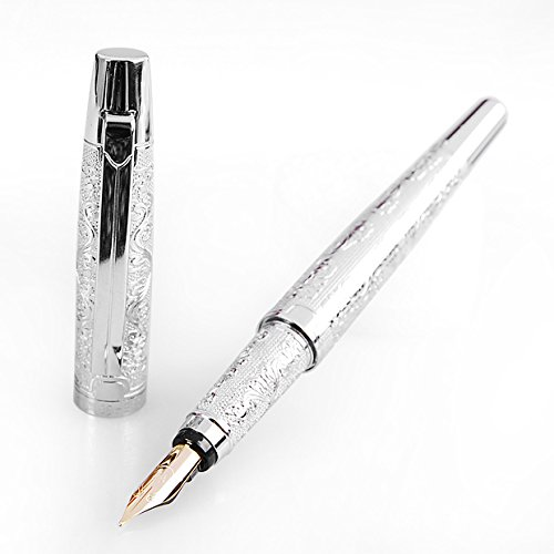 Hero 103 Silver Flower Embossment Fountain Pen Iridium Medium 0.5mm Nib Point Pen Push in Style Ink Converter Big Gift (Pic Roller Ball Refill compare prices)