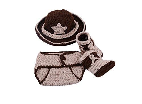 CX-Queen Newborn Baby Photography Prop Crochet Cowboy Hat Boot Diaper Set Costume (Style 3)