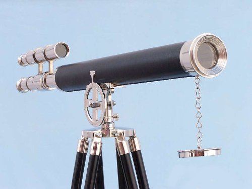 "Chrome/Black Griffith Astro Telescope 64"" - Nautical Chrome Telescope - Tall Floor"
