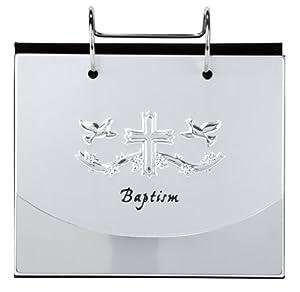 Malden International Designs Baptism Christening Flip Album Picture Frame, 4 by 6-Inch, Silver