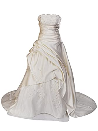 Remedios Strapless Beaded and Applique Satin A Line Wedding Dress, Ivory, S4