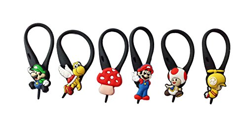 6 pcs Super Mario Brothers # 2 Soft Zipper Pull Charms for Backpack Bag Pendant Jacke