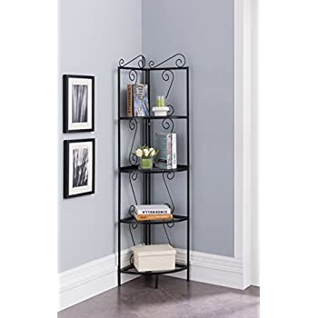 4-Tier Metal Scroll Design Corner Shelf Bookcase Display - Black