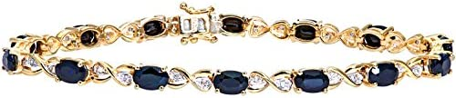 Naava 9ct Yellow Gold Sapphire and Diamond Set Fig 8 Link Bracelet