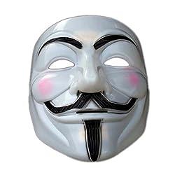 V for Vendetta Comic Face Mask Anonymous Guy Fawkes (White)