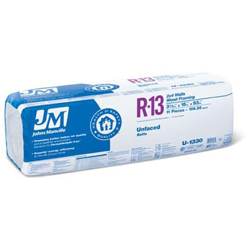 JOHNS MANVILLE INTL 90007868 R13 15 x 93 Un-Faced Battery (Johns Manville Insulation compare prices)