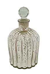 Creative Co-Op Antique Silver Decorative Mercury Glass Bottle with Glass Stopper, 7.5-Inch