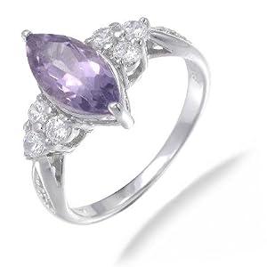 Vir Jewels, Bague Femme Argent fin 925/1000 Violet Amethyste 1.2 Karat, T 49