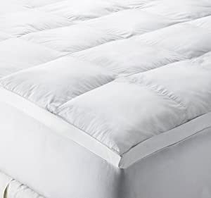 Jennifer Nicole Lee 220-Thread-Count 100-Percent Cotton Sateen Luxury Gusseted Fiber Bed, White, Queen