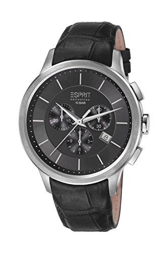 ESPRIT Collection EL101961F01 - Reloj analógico de cuarzo para hombre, correa de cuero color negro