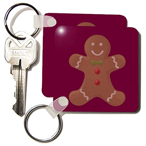 Kc_42706_1 Patricia Sanders Creations - Deep Red Gingerbread Man Cookie- Art - Key Chains - Set Of 2 Key Chains front-389844