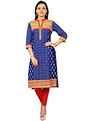 Rama Designer Blue & White Color Floral Print Embroidered Kurti
