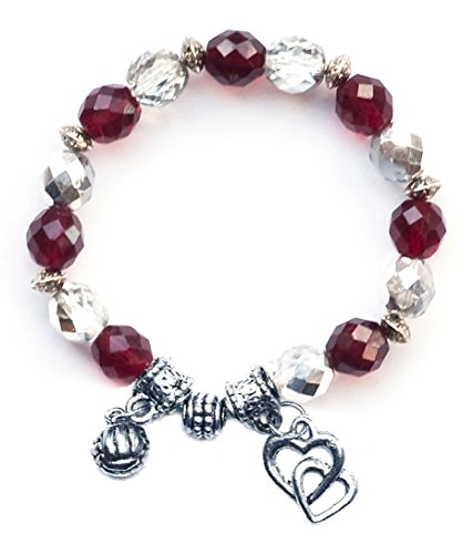 """""""Water Polo Ball"""" Girls Water Polo Bracelet (Team Colors Maroon & Silver)-Small"""