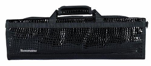 Messermeister 8-Pocket Vinyl Crocodile Padded Knife Bag, Black