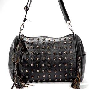 black Punk Skull Stud Lady Women shoulder Bag PU Leather Tote Hobo Satchel tassel