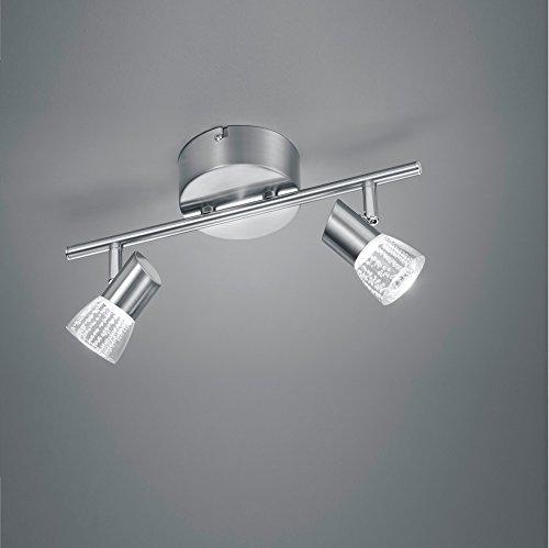 LED-Deckenstrahler in Nickel matt - Blasenglas- Arcyl transparent klar, inklusive 2 x 4,5Watt, 3000°K, warmweiß + Extra 1x GU10 LED Leuchtmittel zur freien Nutzung
