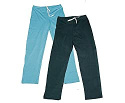 IndiWeaves Women Super Combo Pack 4 (Pack of 2 Lower/Track Pant and 2 T-Shirt)_Turquoise::Gray::Blue::Gray _L