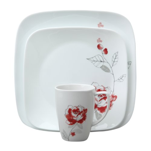 Corelle 16-Piece Square Blushing Rose Dinnerware Set
