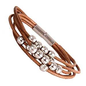 Amazon.com: Stylish Urban Jewelry Leather Bracelet for Women Silver Color Beads Cuff with Magnetic Stainless Steel Clasp 7