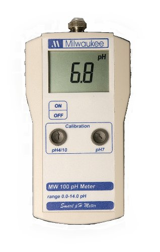 Milwaukee MW102 LED Economy Portable pH Meter with Automatic Calibration, 0.0 to 14.0 pH, +/-0.01 pH Accuracy, 0.01 pH Resolution
